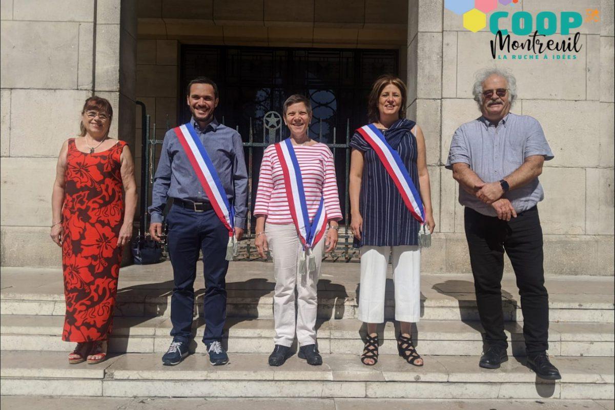 Photo des 5 élu-e-s sur le parvis de la mairie
